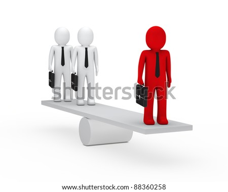 3d business men briefcase red balance seesaw - stock photo