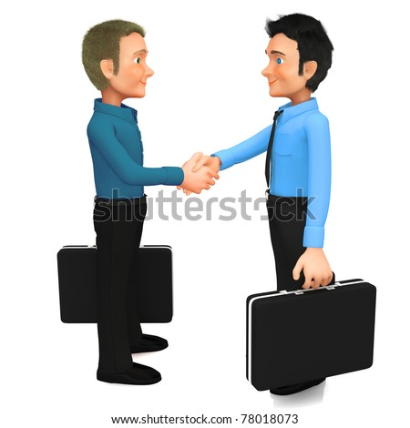 3D Business men handshaking - isolated over a white background
