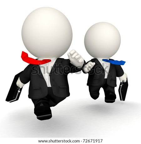3D business men in a rush - isolated over a white background - stock photo