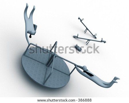 3d business-men on a merry-go-round - stock photo