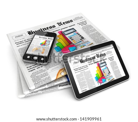 3d business news, isolated white background, 3d image - stock photo
