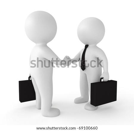 3d business partnership concept - stock photo