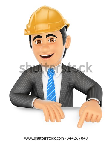 3d business people. Architect pointing down. Blank space. Isolated white background. - stock photo