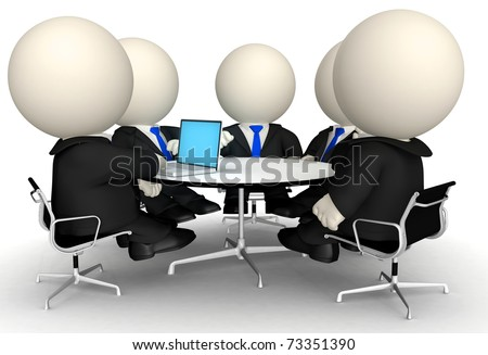 3D Business people at a corporate meeting - isolated over a white background - stock photo