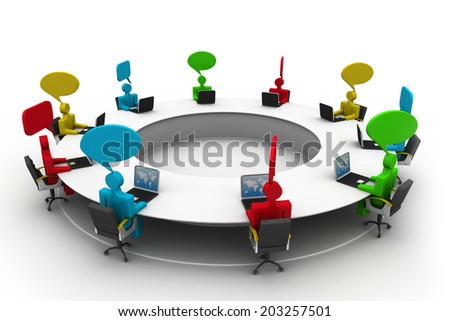 3d business people at  conference table