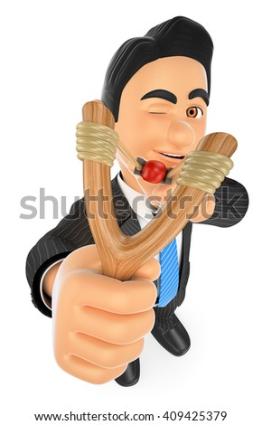 3d business people. Businessman aiming with a slingshot. Accuracy concept. Isolated white background. - stock photo