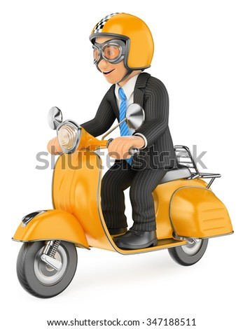 3d business people. Businessman going to work by scooter motorcycle. Isolated white background. - stock photo