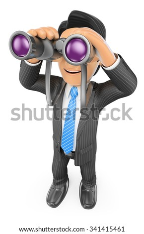 3d business people. Businessman looking through binoculars. Visionary. Isolated white background. - stock photo