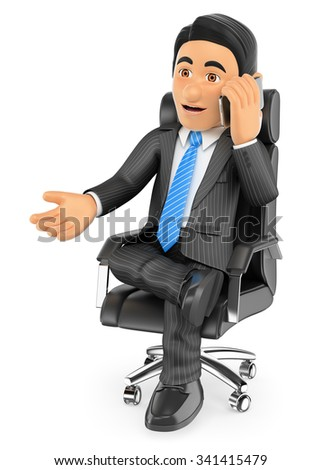 3d business people. Businessman sitting in his chair speaking by mobile phone. Isolated white background. - stock photo