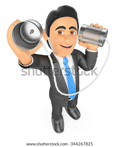 3d business people. Businessman speaking through a can. Communication concept. Isolated white background. - stock photo