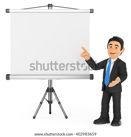 3d business people. Businessman with a blank projector screen. Isolated white background. - stock photo