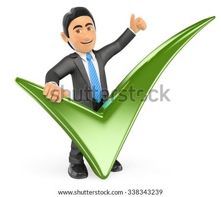 3d business people. Businessman with a green tick and thumb up. Isolated white background. - stock photo