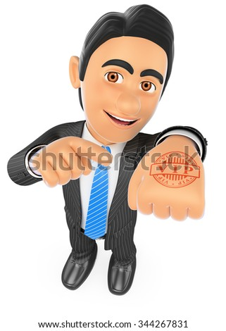 3d business people. Businessman with hand stamp VIP. Isolated white background. - stock photo