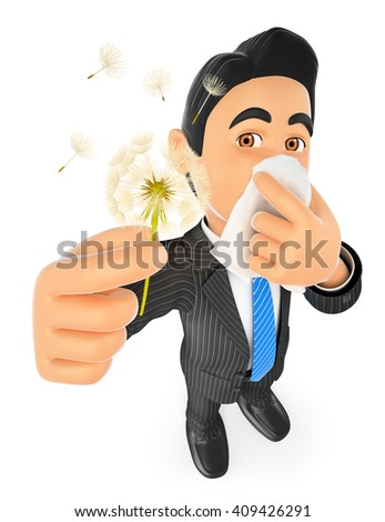 3d business people. Businessman with pollen allergy. Spring. Isolated white background. - stock photo