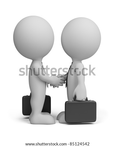 3d business people greet with cases in the hands of. 3d image. Isolated white background.