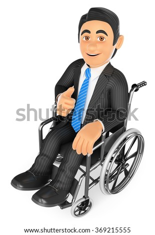 3d business people. Handicapped businessman with thumb up on a wheelchair. Isolated white background. - stock photo