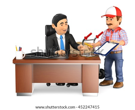 3d business people illustration. Businessman receiving a package at the office. Isolated white background. - stock photo