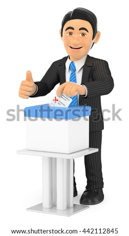 3d business people illustration. Businessman voting in a ballot box. Isolated white background. - stock photo
