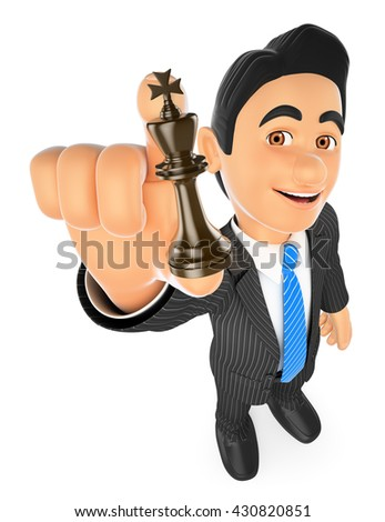3d business people illustration. Businessman with chess king. Strategist. Isolated white background. - stock photo