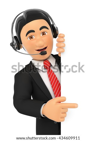 3d business people illustration. Call center employee pointing aside. Blank space. Isolated white background. - stock photo