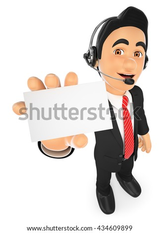 3d business people illustration. Call center employee with a blank card. Isolated white background. - stock photo