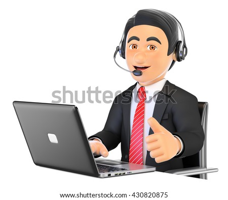 3d business people illustration. Call center employee working with thumb up. Isolated white background. - stock photo