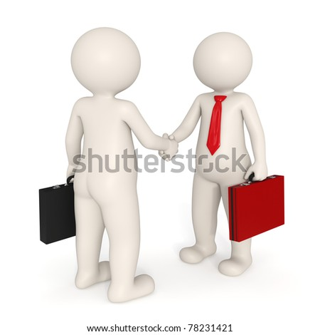 3d business people making a deal and shaking hands - Isolated - stock photo
