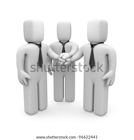 3d business people with hands on top of each other. Image contain clipping path - stock photo