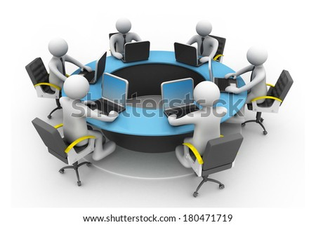 3d business people Working Together At Desk In Office. Round table  conference - stock photo