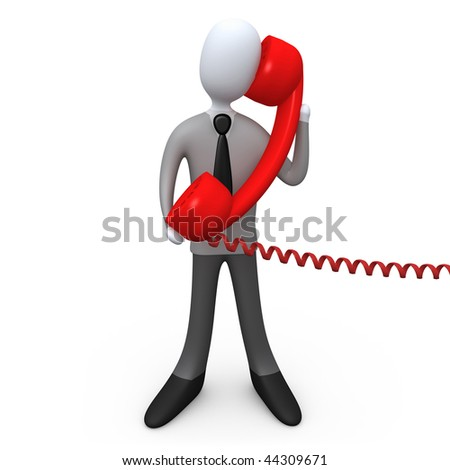 3d business person holding a large red phone .