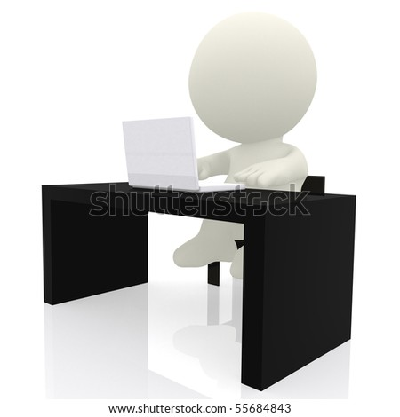 3d business person on a desk with a laptop - isolated over a white background