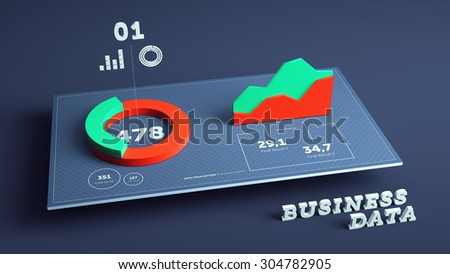 3D business statistics and data visualization background