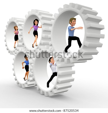 3D business team in action making gears move - teamwork concepts - stock photo