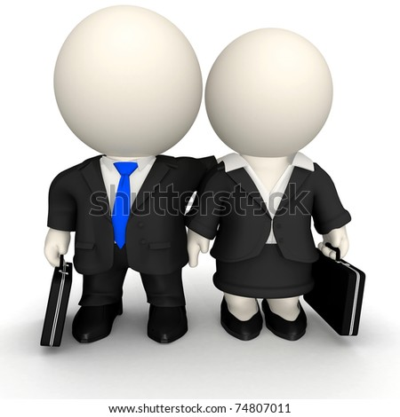 3D Business team - isolated over a white background - stock photo