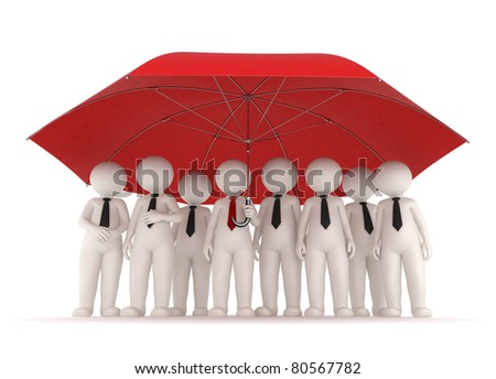 3d business team standing under a big red umrella - stock photo