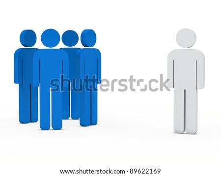 3d business team white success leader blue - stock photo