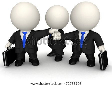 3D Business team with hands together - isolated over a white background - stock photo