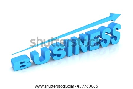 3d business text and arrow .Business growth concept
