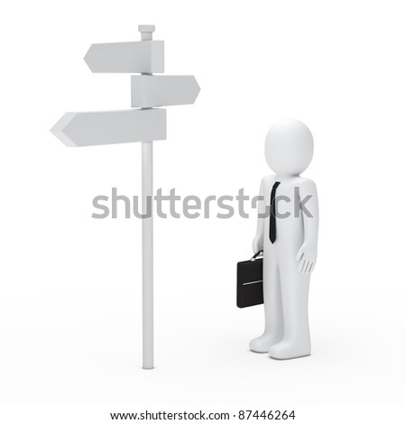 3d business tie briefcase man way sign - stock photo