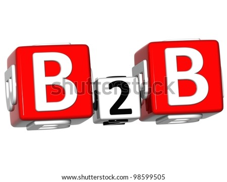 3D Business to Business crossword on white background - stock photo