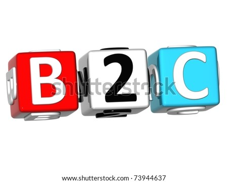 3D Business to Client Cube word on white background - stock photo