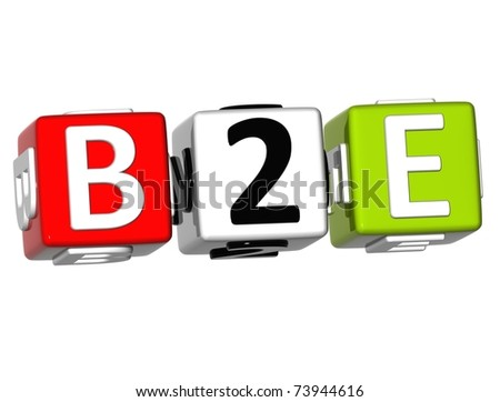 3d Business to Employee Cube word on white background - stock photo