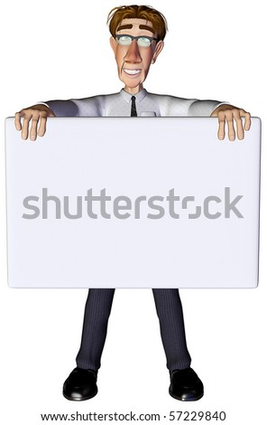 3d businessman advert - stock photo