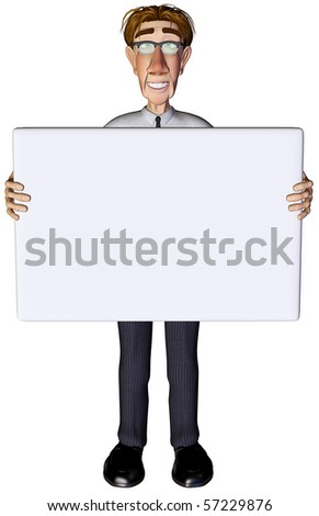 3d businessman advert 2 - stock photo