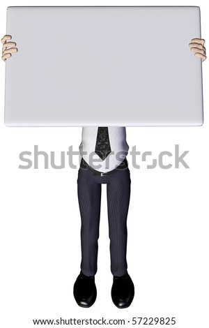 3d businessman advert up - stock photo