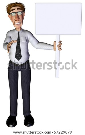 3d businessman advert white - stock photo
