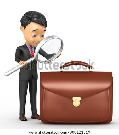 3d businessman analyzes portfolio - stock photo