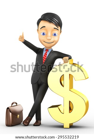 3d businessman and a big gold dollar on a white background - stock photo