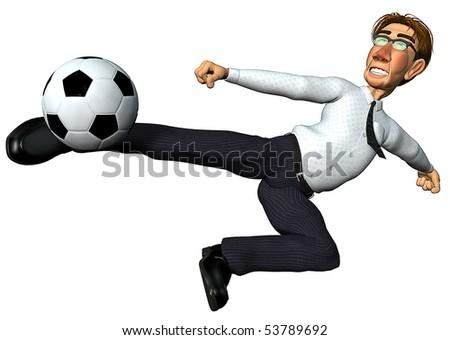 3d businessman and also footballer dragon jump - stock photo