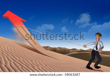 3d businessman  arrow up and going on - stock photo